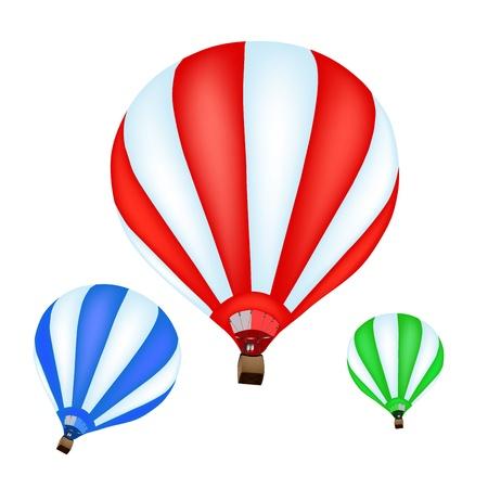 inflar: Globo colorido del aire caliente sobre fondo blanco