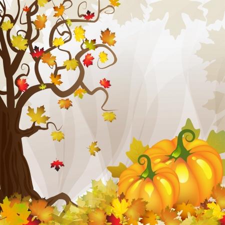 Pompoen met boom en vallen bladeren