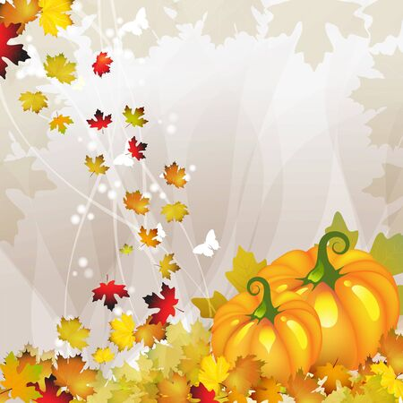 Orange pumpkin vegetable with tree and fall leaves