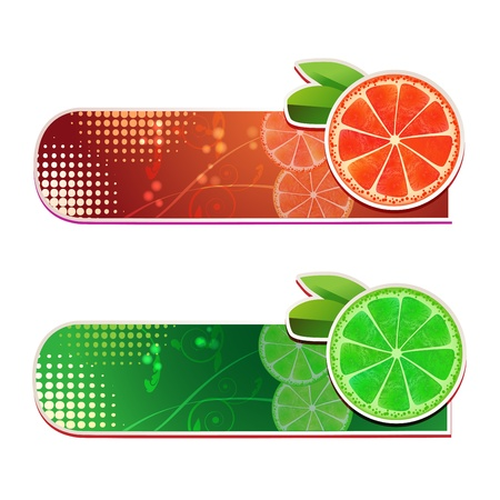 Banners with grapefruit and lime fruits Stock Vector - 15662291