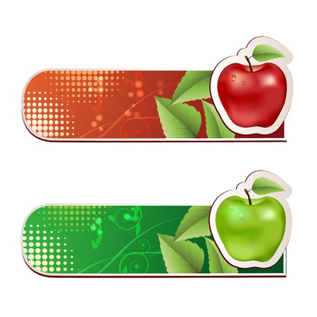Banners with apples and leaves  Stock Vector - 15662286