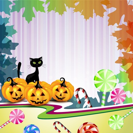 Halloween card with pumpkin, candies and cat