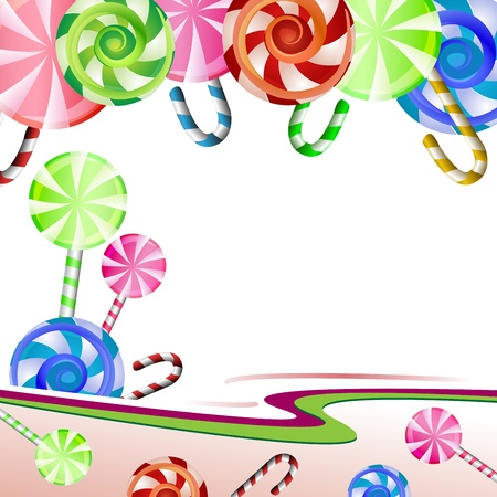 Backgrounds with colorful lollipops  Vector