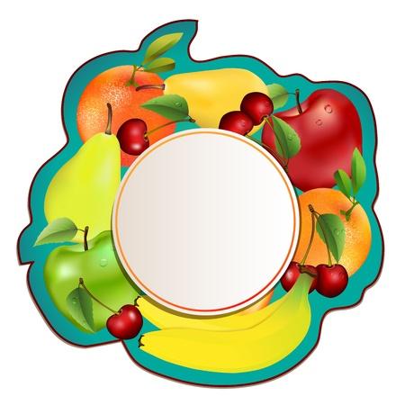 apple border: Frame made of fresh, juicy fruit Illustration