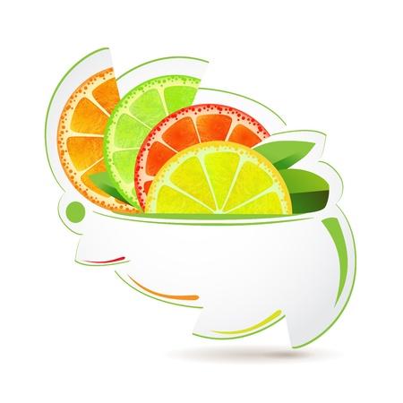 Slices of fruits over design shape  일러스트