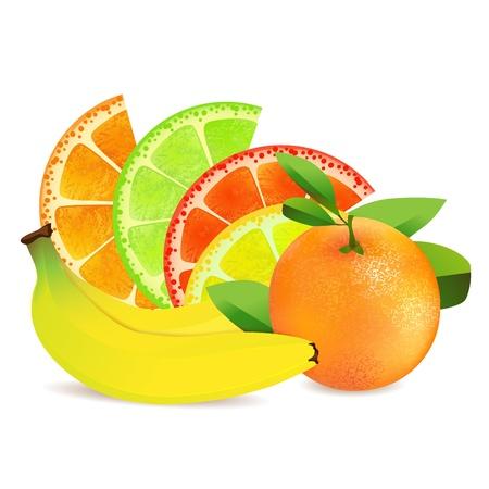 Slices of fruits over design shape  Illustration