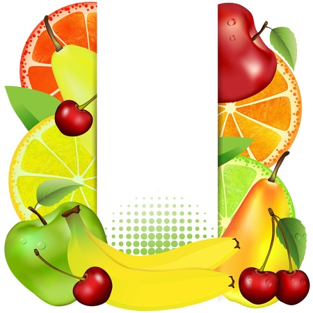 Banner with fruit 일러스트