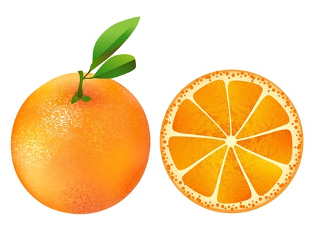 Juicy orange with slice and leaves Stock Vector - 15690865