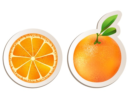 Juicy orange with slice and leaves  Stock Vector - 15690862