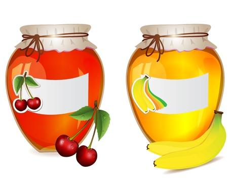 Jam jars with cherry and banana Vector