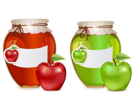 Pots de confiture avec des pommes rouges et vertes et