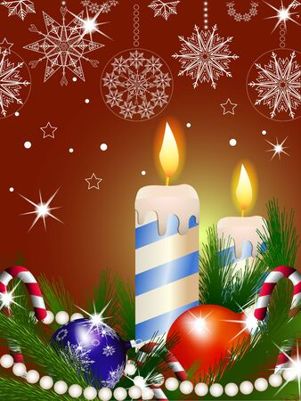 ボールやキャンドルでクリスマスの背景のイラスト