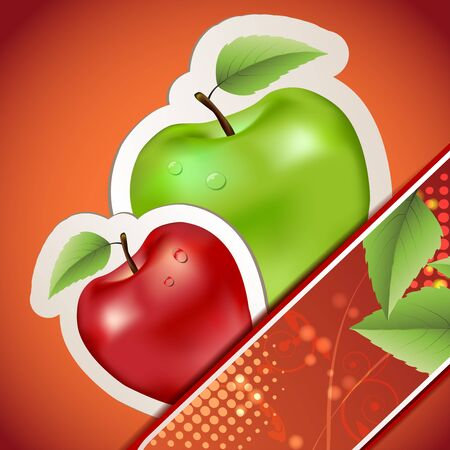 Banners with apples and leaves Stock Vector - 16295007