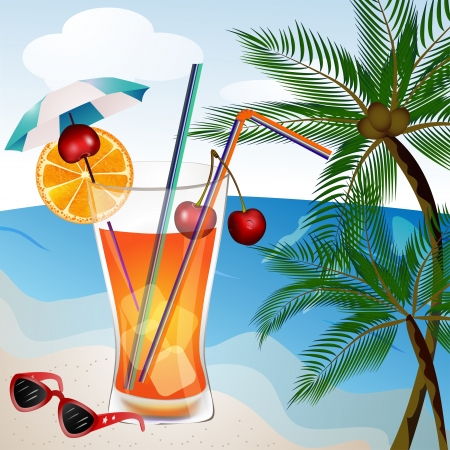 Glass of drink with straw ice cube and fruit piece on the beach