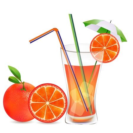 orange juice glass: Bicchiere di bevanda con cubetti di ghiaccio e paglia pezzo di frutta, pompelmo