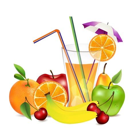 新鮮な果物やジュース