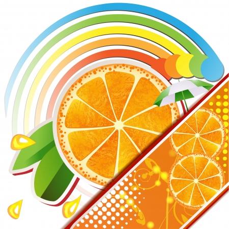 葉、ジューシーなフルーツとオレンジ スライス