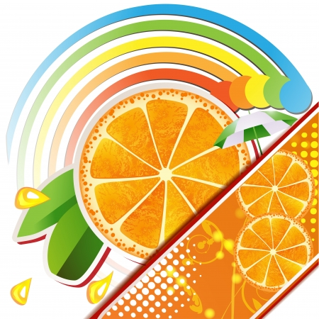 Slices orange with leaves ,juicy fruit