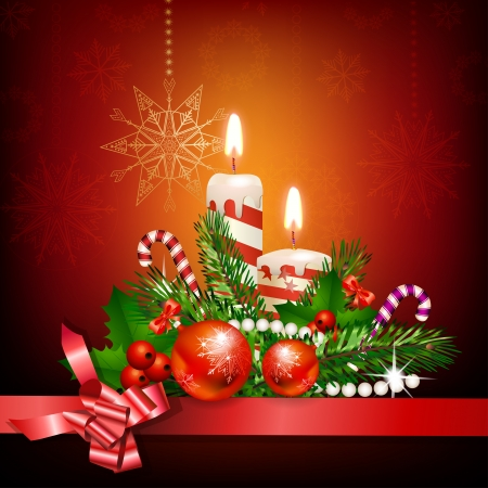 Christmas decoration with candles , pine tree and balls Vector