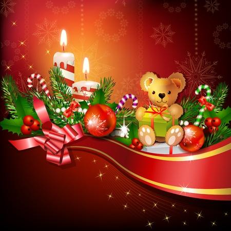 osos navide�os: Decoraci�n de Navidad con velas, �rbol de pino y bolas