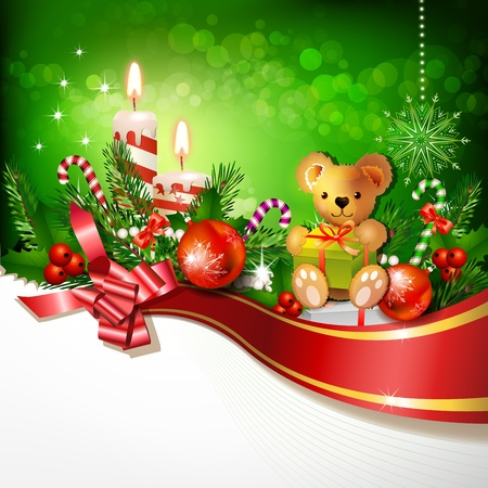 Christmas decoration with candles , pine tree and balls 일러스트
