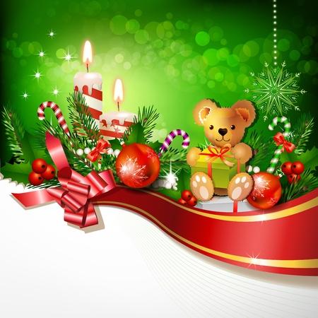 chandelles: D�coration de No�l avec des bougies, des arbres de pin et des boules