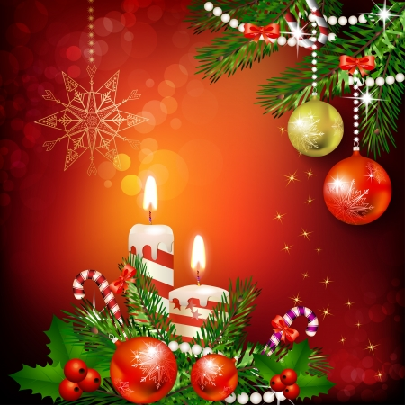 Christmas decoration with candles , pine tree and balls Illustration