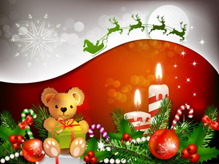 ambience: Christmas decoration with candles , pine tree and balls Illustration