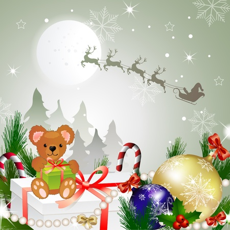 Beautiful Christmas with Santa and deer Stock Vector - 16608798