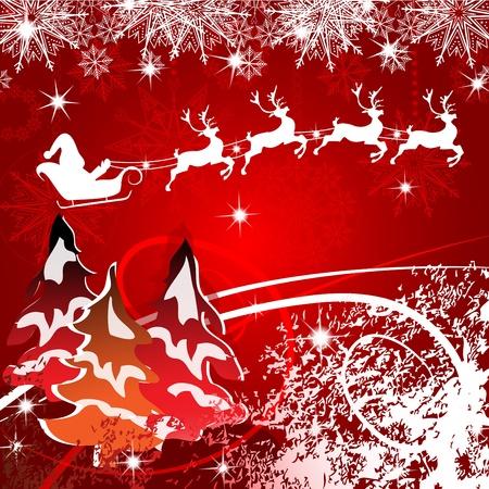 Beautiful Christmas with Santa and deer Stock Vector - 16608799