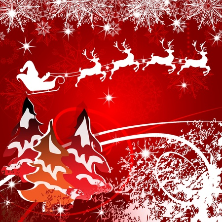 Beautiful Christmas with Santa and deer Stock Vector - 16608799