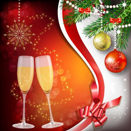 felicitate: Glass of champagne with Christmas decoration