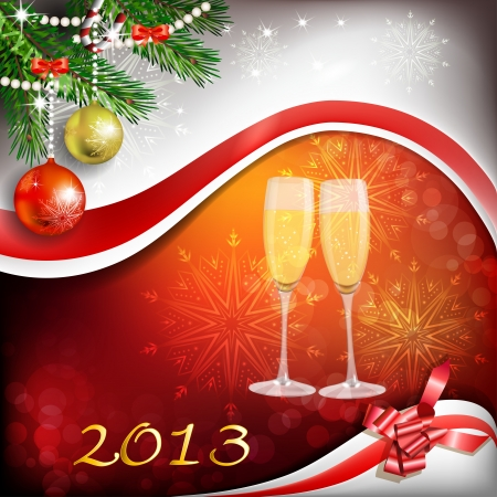 felicitate: Glass of champagne with Christmas decoration for year 2013 Illustration