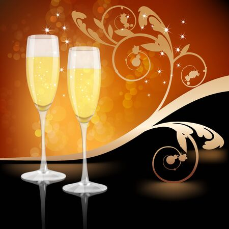 felicitate: Glass of champagne with ornament leaves