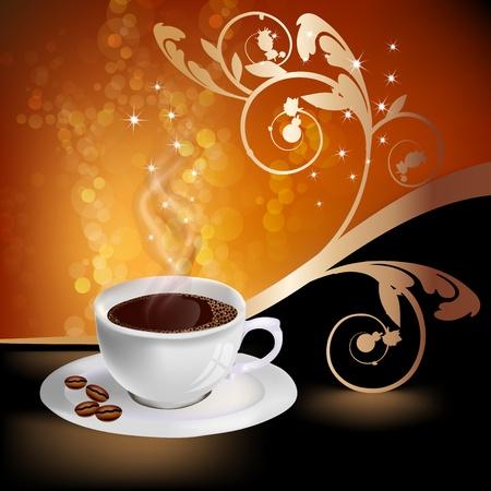 華やかな要素とコーヒーのカップ