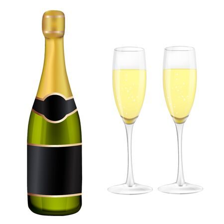 celebration champagne: Two glasses of champagne and bottle