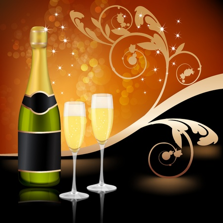 Two glasses of champagne and bottle with decoration background Stock Vector - 17043752