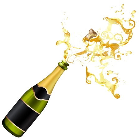 Illustratie van explosie van de fles champagne kurk
