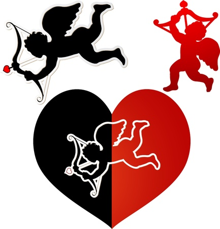 Cupid silhouette black and red Vector