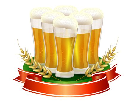 Beer glass with ribbon and barley straw Stock Vector - 18048414