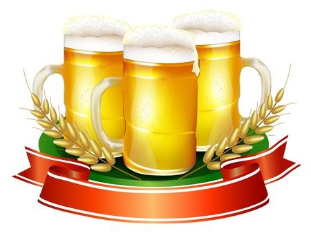 リボン, オオムギのわらとビール ジョッキ  イラスト・ベクター素材