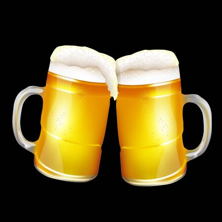 Two beer mugs in black background