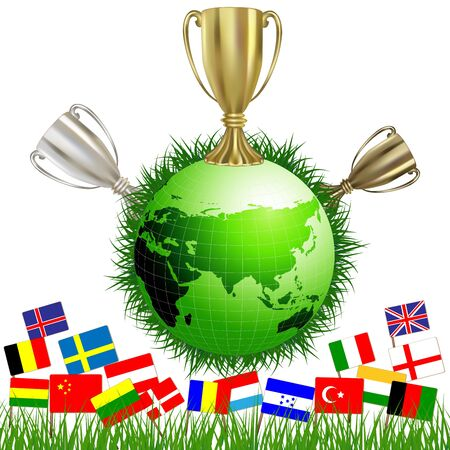 Football cup on Earth globe and different countries flags