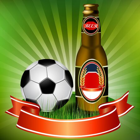 Football and beer with red ribbon Stock Vector - 18048482