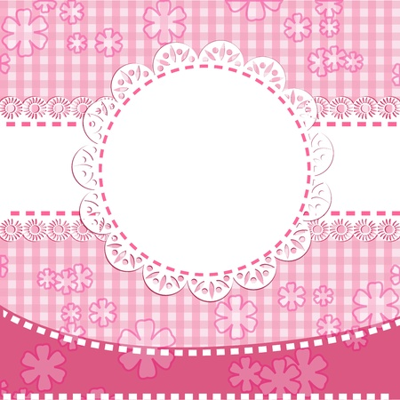 baby shower party: Baby girl arrival card Illustration