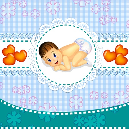 Baby boy announcement card  Stock Vector - 18652736