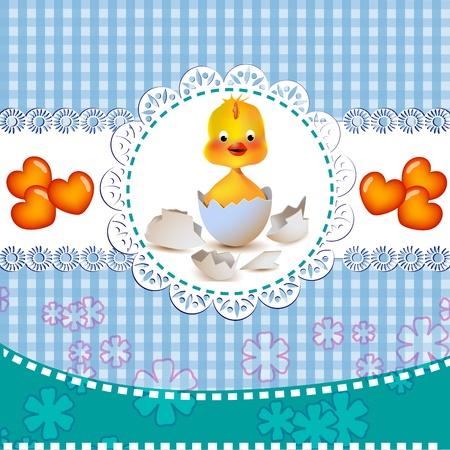 Cute baby boy shower invitation Illustration