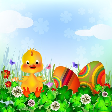 Beautiful Easter Background with colorful Easter eggs and chicken in the young green grass Stock Vector - 18652754
