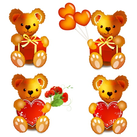 valentine s day teddy bear: Teddy Bears with heart,flowers, balloons and gift Illustration