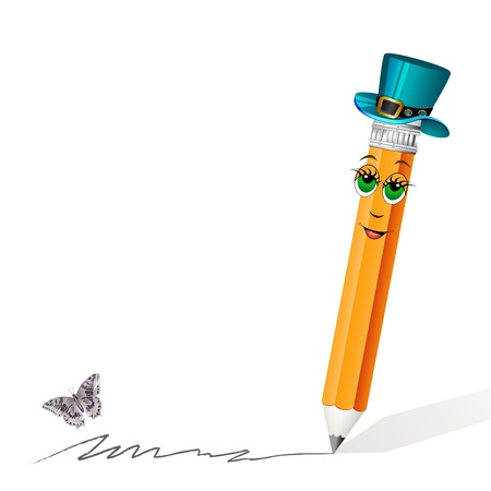 butterfly stationary: Funny pencil mascot drawing